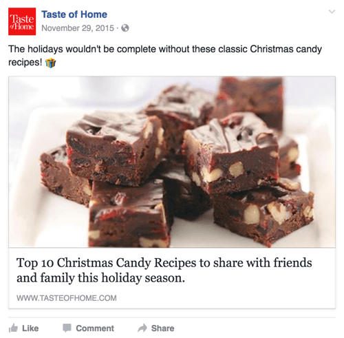 Fans engaged well with this top candy recipes post by Taste of Home.