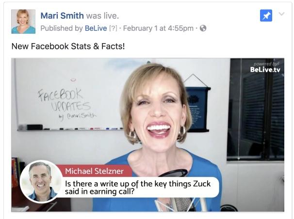 Facebook Updates Mike Stelzner BeLive.tv