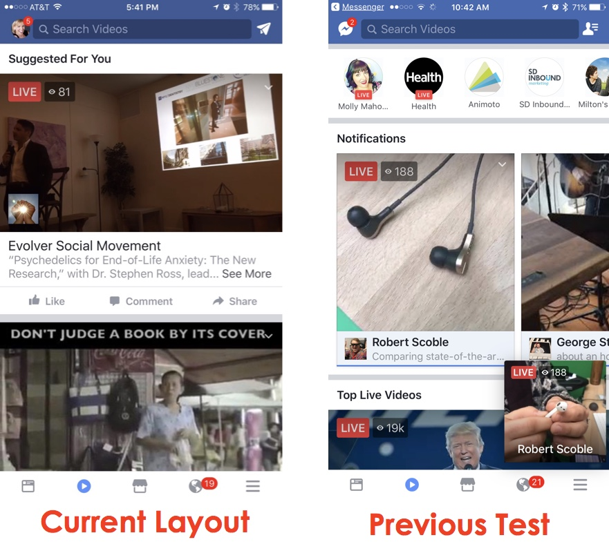 facebook video tab layouts