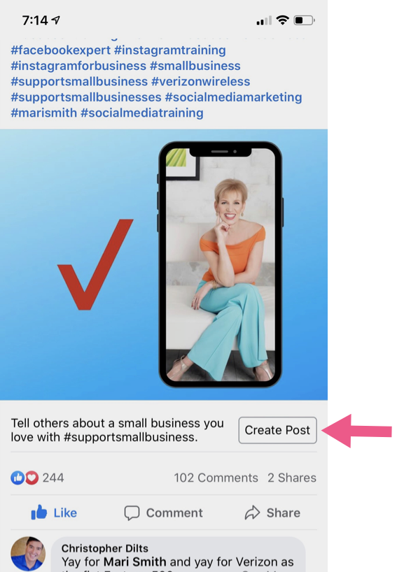 mari smith post #supportsmallbusiness hashtags on facebook michael stelzner iphone screenshot