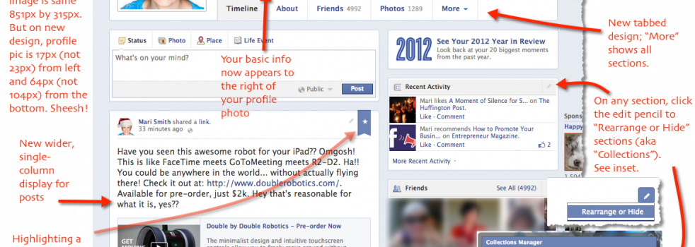 Facebook Single Column Timeline Design Rolls Out